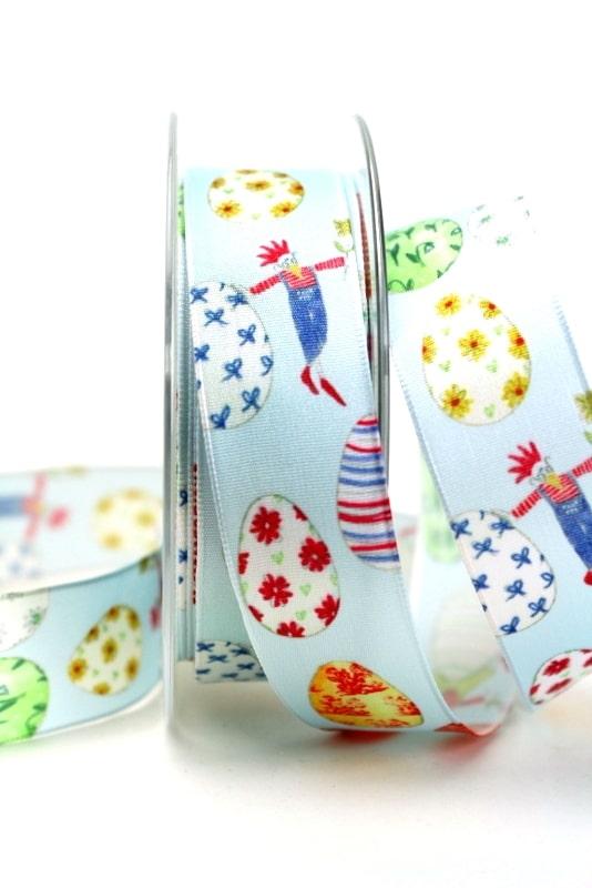 Taftband mit bunten Ostereiern, hellblau, 25 mm breit - sonderangebot, satinband, bedrucktes-satinband, bedruckte-osterbaender, 30-rabatt