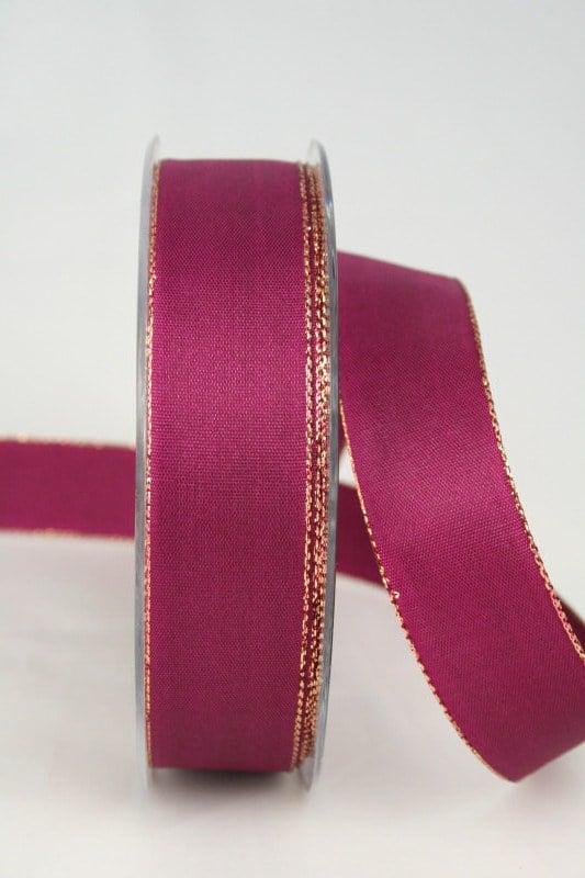 Uni Taftband mit Goldkante, 25 mm breit, himbeer - weihnachtsband, satinband-goldkante