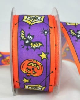 Taftband Halloween, mit Drahtkante, 40 mm breit - anlaesse, satinband, bedrucktes-satinband