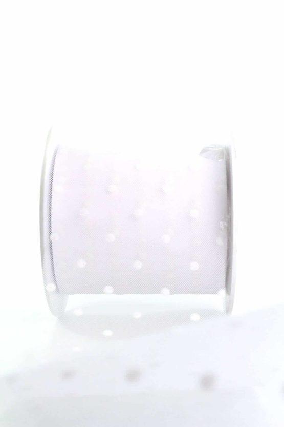 Tüll mit Pünktchen weiß, 80 mm breit - schleifenband-hochzeit, hochzeitsbaender