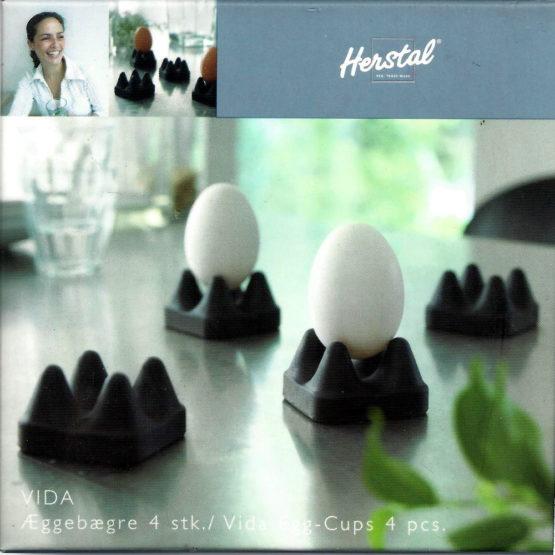 Eierbecher Vida schwarz von Herstal, 4 Stück - geschenke