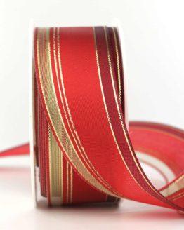 Weihnachtsband Klassik, rot-gold, 40 mm - weihnachtsband
