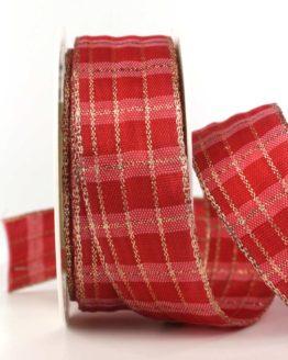Karoband Weihnachten, rot-gold, 40 mm breit mit Drahtkante - WETTERFEST - weihnachtsband