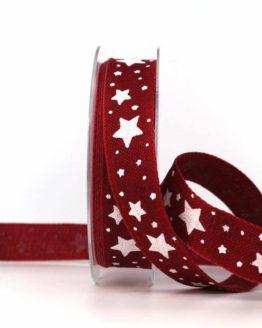 Dekoband Weihnachten, bordeaux-weiß, 25 mm, mit Draht - weihnachtsband