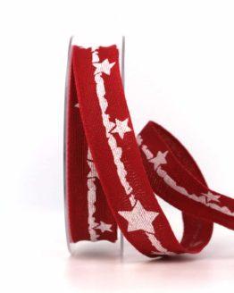 Dekoband Weihnachten, rot-weiß, 25 mm, mit Draht - weihnachtsband