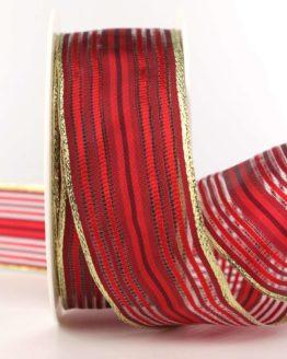 Weihnachtsband Streifen, rot-gold, 40 mm - weihnachtsband