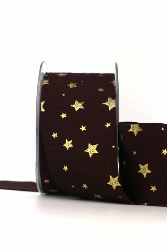 Edles Weihnachtsband Sterne, bordeaux-gold, 50 mm - weihnachtsband