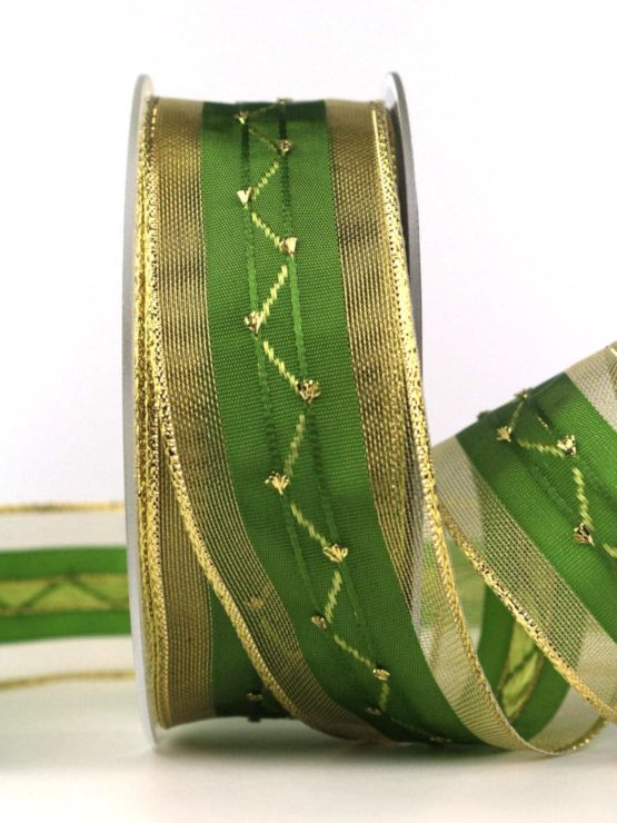 Weihnachtsband, grün-gold, 40 mm, mit Draht - weihnachtsband