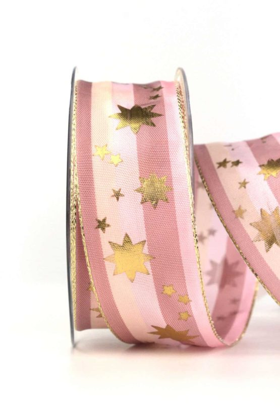 Weihnachtsband mit goldenen Sternen, rosa-altrosa, 40 mm, mit Draht - weihnachtsband