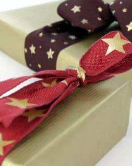 Dekoband Weihnachten, bordeaux-gold, 25 mm, mit Draht - weihnachtsband