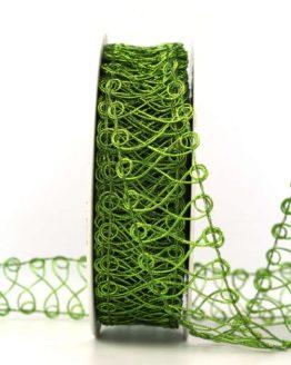 Spitze aus Lurexgarn, grün, 30 mm - weihnachtsband