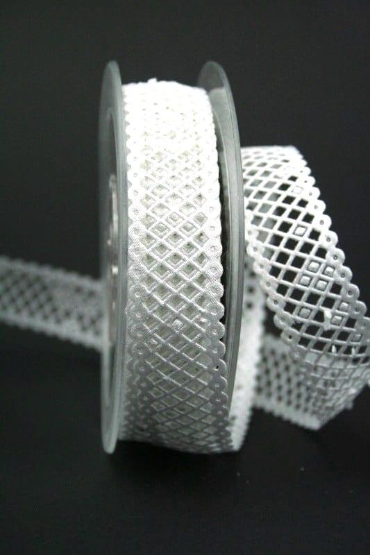 Gitter-Borte weiß, 30 mm breit - hochzeitsbaender
