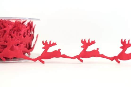 Zierlitze Rentiere, rot, 25 mm - weihnachtsband, dekogirlande