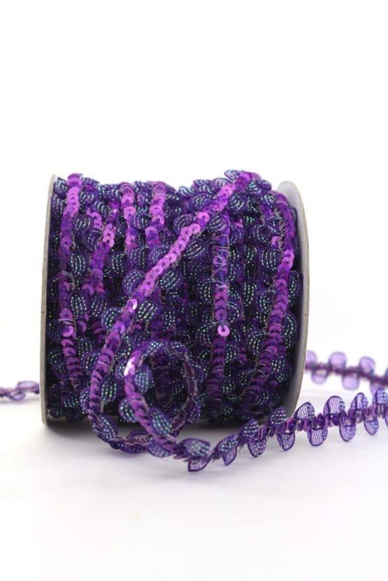 Zierlitze mit Pailletten, lila, 15 mm - weihnachtsband, dekogirlande