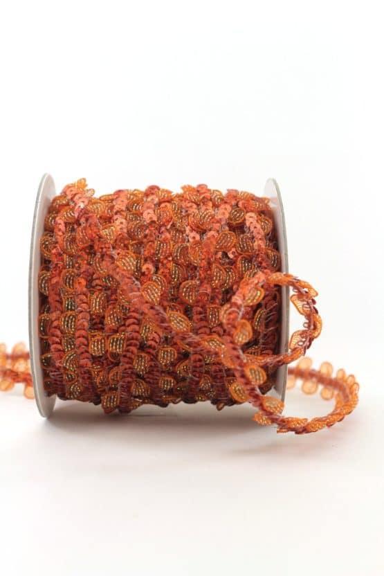 Zierlitze mit Pailletten, kupfer, 15 mm - weihnachtsband, dekogirlande