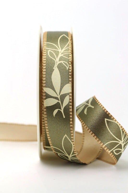 Exclusives zweiseitiges Satinband mit Blättern, taupe, 25 mm breit - sonderangebot, satinband, bedrucktes-satinband, bedruckte-everyday-bander, 20-rabatt