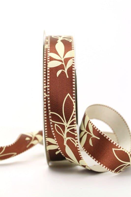 Exclusives zweiseitiges Satinband mit Blättern, dunkelbraun, 25 mm breit - sonderangebot, satinband, bedrucktes-satinband, bedruckte-everyday-bander, 20-rabatt