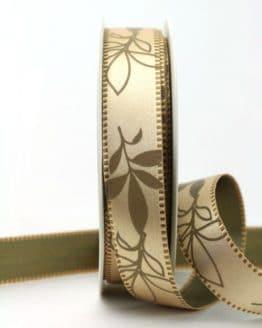 Exclusives zweiseitiges Satinband mit Blättern, hellbraun, 25 mm breit - sonderangebot, satinband, bedrucktes-satinband, bedruckte-everyday-bander, 20-rabatt