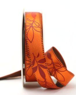 Exclusives zweiseitiges Satinband mit Blättern, orange, 25 mm breit - sonderangebot, satinband, bedrucktes-satinband, bedruckte-everyday-bander, 20-rabatt