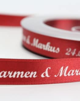 Individuell bedrucktes Satinband, 10 - 40  mm breit, 25m-Rolle - personalisiertes-schleifenband, individuelles-band, hochzeitsbaender